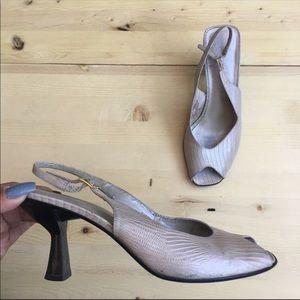 Vintage Embossed Square Toe Sandals